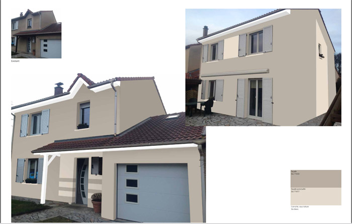 Simulation peinture photo maison id e for Simulateur couleur facade maison